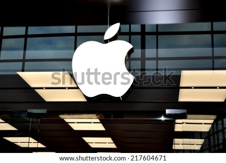 Toronto, Canada - September 13, 2014: A sign of an Apple company in front of their Toronto store. - stock photo