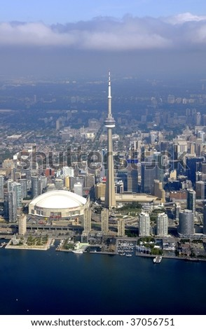 TORONTO, CANADA - SEPTEMBER 14: Aerial view of Rodgers Centre and downtown area September 14, 2009 in Toronto, Canada. - stock photo
