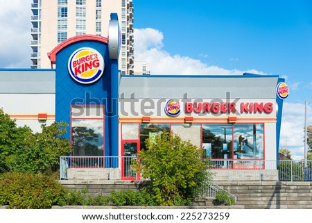 TORONTO,CANADA-SEPTEMBER 14,2014: Burger King store in Toronto. Burger King, often abbreviated as BK, is a global chain of hamburger fast food restaurants headquartered in Miami-Dade County, Fla, U.S  - stock photo