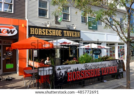 Toronto, Canada - September 17, 2016: The legendary Horseshoe Tavern on Queen Street West has been a popular concert venue for decades and has seen many live performances by Canadian bands.