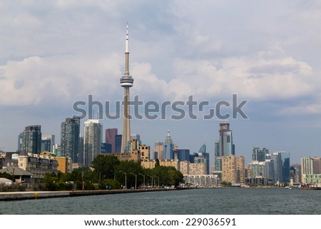 TORONTO, CANADA - 11TH AUGUST 2014: A view of Toronto downtown from the west side of the waterfront - stock photo