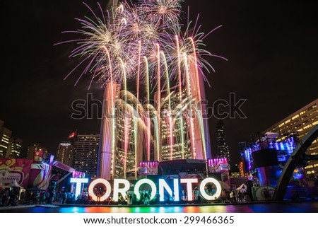 TORONTO, CANADA - 13TH JULY 2015: Fireworks at Nathan Philips Square in Toronto during the Panamerican Games. - stock photo