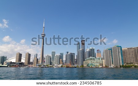 TORONTO, CANADA - 27TH JULY 2014: Part of Toronto Waterfront during the day, showing offices and condos