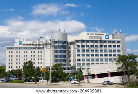 TORONTO, CANADA - 10TH JULY 2014: The outside of North York General Hospital during the day - stock photo