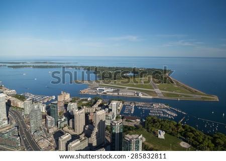 TORONTO, CANADA - 6TH JUNE 2015: A view towards towards Toronto Island Airport (Billy Bishop) - stock photo