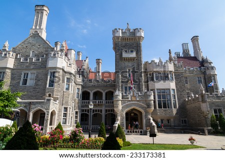 TORONTO, CANADA - 29TH JUNE 2014: The outside of Casa Loma in Toronto during the day showing th architecture