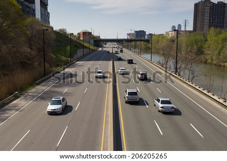 TORONTO, CANADA - 18TH MAY 2014: Part of the Don Valley Parkway during the day