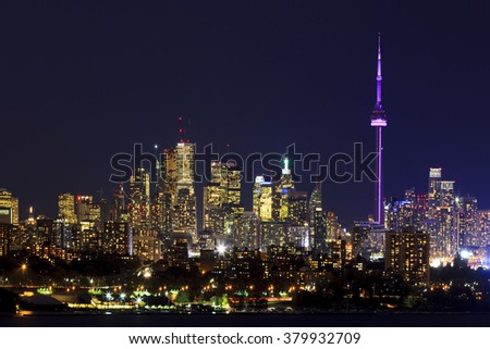 TORONTO CANADA 16-10-2015:Toronto Skyline with architectures Toronto with the population of 6M is the provincial capital of Ontario and the largest city in Canada. - stock photo