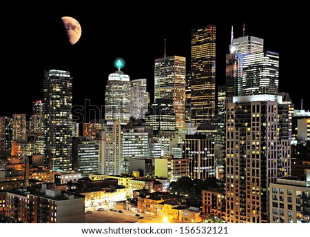 Toronto center. Night city view. Canada. - stock photo