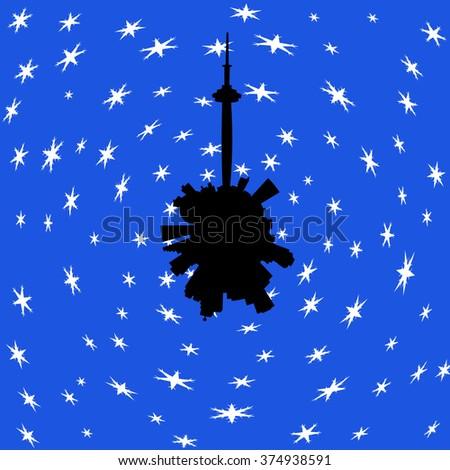 Toronto circular skyline in winter with snow illustration - stock photo