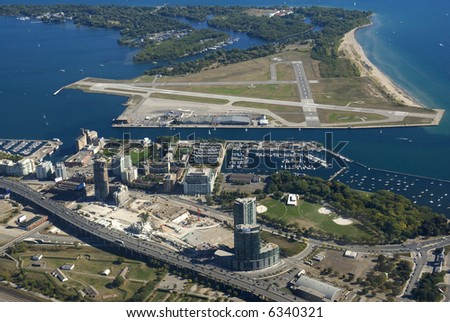 Toronto City Centre Airport, Canada, seen from just above King Street West. - stock photo