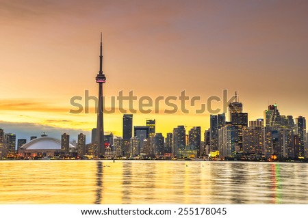 Toronto city skyline at night, Ontario, Canada - stock photo