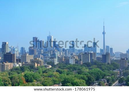 Toronto city skyline view with park and urban buildings - stock photo
