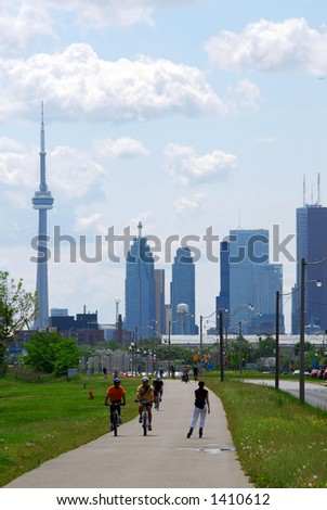 Toronto city skyline with recreation trail - stock photo