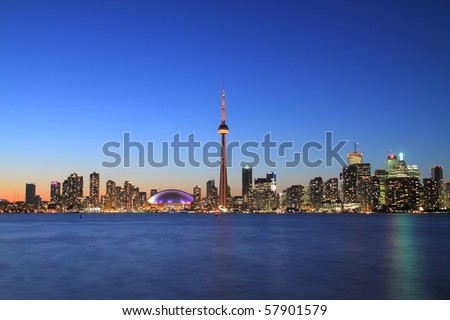 Toronto Cityscape at Night from Central Island - stock photo