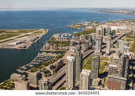 Toronto cityscape from CN Tower, Ontario, Canada - stock photo