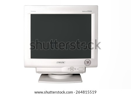 TORONTO - DEC 22: Sony CRT Multiscan 210GS monitor in Trinitron series, isolated on white background, and photographed in Toronto on Dec. 22, 2007.  - stock photo