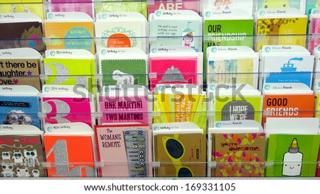 TORONTO - DECEMBER 14: Greeting cards in a store on December 14, 2013 in Toronto. Hallmark Cards and American Greetings are the largest producers of greeting cards in the world. - stock photo