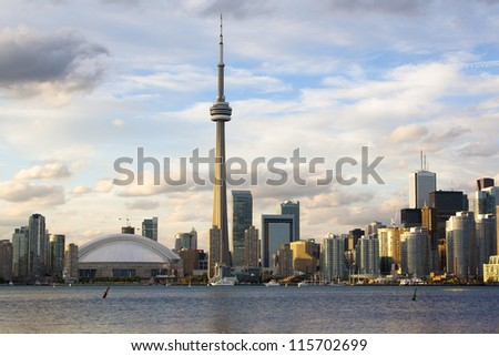 Toronto early evening cityscape. Photo was  taken from Central Island. - stock photo
