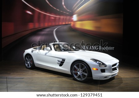 TORONTO-FEBRUARY 22: A Mercedes-Benz SLS AMG Roadster during the 40th International Auto Show on February 22, 2013 in Toronto, Canada. - stock photo