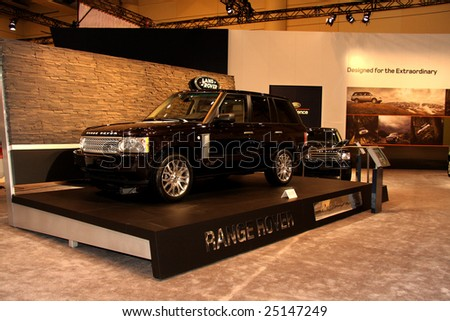 TORONTO, FEBRUARY 11: A Range Rover was on display at the Canadian International AutoShow 2009.  More than 1000 cars are trucks are on display at this show held in Toronto, Canada on Feb. 11, 2009. - stock photo