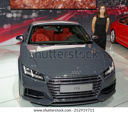 TORONTO-FEBRUARY 12: at the 2015 Canadian International Auto Show, Audi TTS Coupe is a third generation of the TT with the driving dynamics of a genuine sports car and a fully digital cockpit - stock photo
