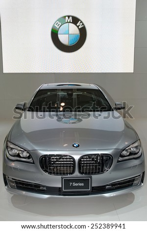 TORONTO-FEBRUARY 12: at the 2015 Canadian International Auto Show BMW 7 Series (2015) is the next generation of BMW's flagship sedan on February 12, 2015 in Toronto  - stock photo