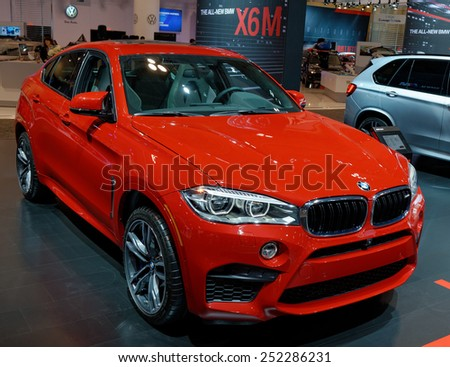 TORONTO-FEBRUARY 12: at the 2015 Canadian International Auto Show  BMW XM6 is marketed as a Sports Activity Coup�© combining the attributes of an SUV with the stance of a coup�© . - stock photo