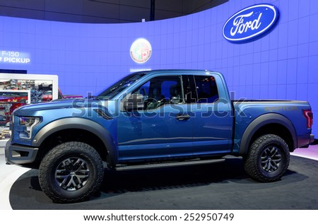 TORONTO-FEBRUARY 12: at the 2015 Canadian International Auto Show, Ford 150 Raptor redefines high-performance off-roading again with a lighter truck that�s tougher, smarter and more capable than ever - stock photo