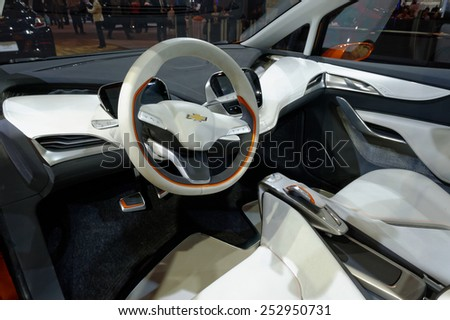 TORONTO-FEBRUARY 12: at the 2015 Canadian International Auto Show, GMC Bolt Concept cockpit, a game-changing electric vehicle designed for attainability, not exclusivity    - stock photo