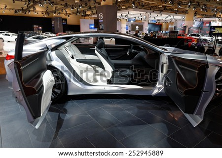 TORONTO-FEBRUARY 12: at the 2015 Canadian International Auto Show Infiniti Q80 Inspiration feature autonomous driving technology, human-centric interiors, bold design  and and hybrid power train  - stock photo