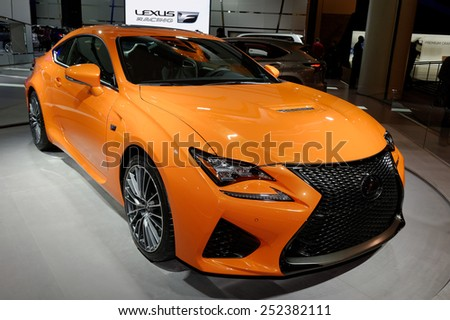 TORONTO-FEBRUARY 12: at the 2015 Canadian International Auto Show  Lexus RCF 2015 performance sedan is the fastest, most dominant sedan Lexus has ever built  on February 12, 2015 in Toronto  - stock photo