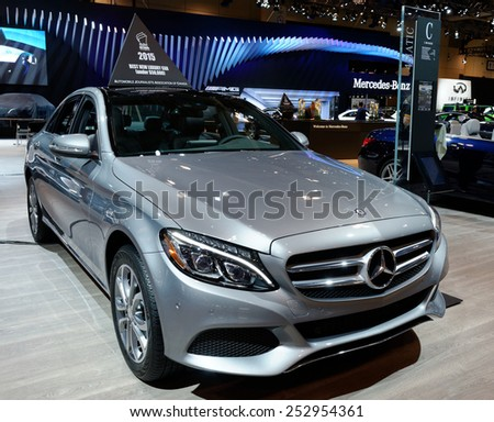 TORONTO-FEBRUARY 12: at the 2015 Canadian International Auto Show Mercedes C300 4Matic wotted 2015 Best  New Luxury Car under 50.000 dollars  on February 12, 2015 in Toronto  - stock photo