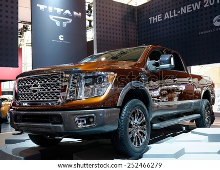 TORONTO-FEBRUARY 12: at the 2015 Canadian International Auto Show  Nissan Titan creates a new class of pickup with powerful Cummins 5.0L V8 Turbo Diesel engine  on February 12, 2015 in Toronto  - stock photo