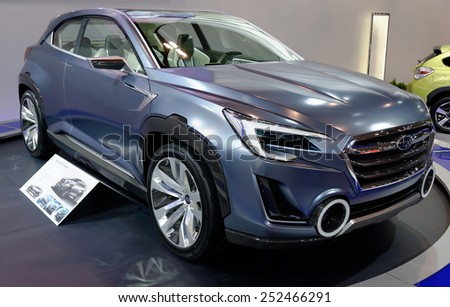 TORONTO-FEBRUARY 12: at the 2015 Canadian International Auto Show Subaru Veziv 2 is a concept of future generation diesel-hybrid crossover with all-new slick styling  on February 12, 2015 in Toronto  - stock photo