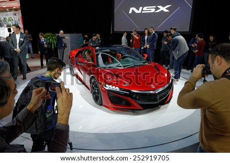 TORONTO-FEBRUARY 12: at the 2015 Canadian International Auto Show 45 vehicles make their Canadian premiere and over 1,000 new cars, trucks and SUVs are on display running February 13-22 - stock photo
