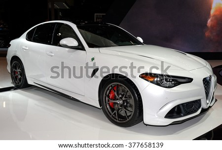 TORONTO-FEBRUARY 12: at the 2016 Canadian International AutoShow, Alfa Romeo Giulia has 505hp turbocharged 6-cylinder engine and can sprint from 0-100km/h in just 3.9 sec