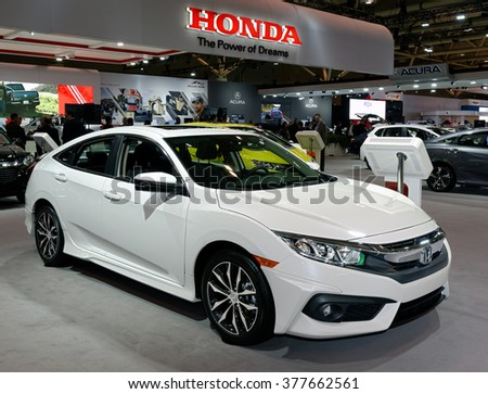 TORONTO-FEBRUARY 12: at the 2016 Canadian International AutoShow, all-new 2016 Honda Civic Named the Canadian Car of the Year by AJAC - stock photo