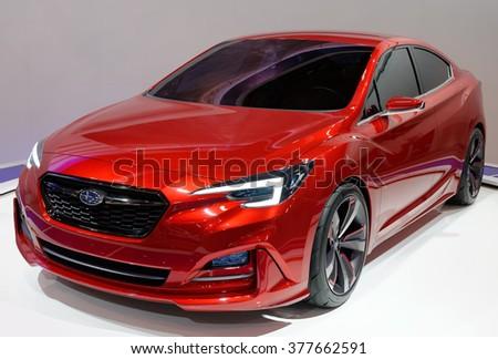 TORONTO-FEBRUARY 12: at the 2016 Canadian International AutoShow, all new Subaru Impreza Sedan Concept is Subaru's next-generation strategic vehicle - stock photo