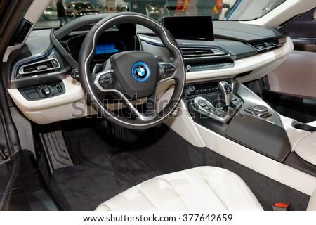 TORONTO-FEBRUARY 12: at the 2016 Canadian International AutoShow, BMW i3 cockpit - stock photo