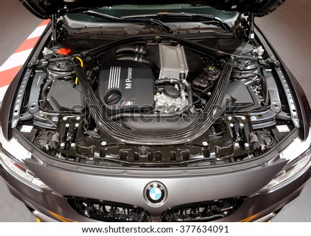 TORONTO-FEBRUARY 12: at the 2016 Canadian International AutoShow, BMW M4 GTS Engine