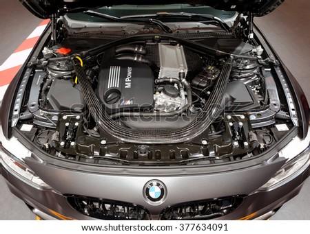 TORONTO-FEBRUARY 12: at the 2016 Canadian International AutoShow, BMW M4 GTS Engine - stock photo