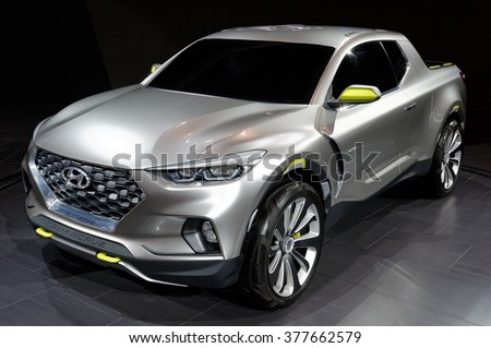 TORONTO-FEBRUARY 12: at the 2016 Canadian International AutoShow,Hyundai Santa Cruz concept made its national debut with 2.0L turbo-diesel engine,190 horsepower, burning only 7.8L/100 km - stock photo