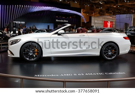 TORONTO-FEBRUARY 12: at the 2016 Canadian International AutoShow, Mercedes AMG S 63 4MATIC Cabriolet, first drop-top flagship model in 48-year history, powered by a 3.0L V6 biturbo engine with 362hp - stock photo