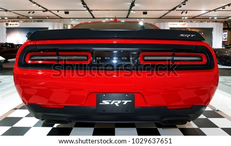TORONTOFEBRUARY 15 2018 Canadian International Auto Show Stock Photo on old challenger, sam posey challenger, chrysler challenger, car challenger, 1980's challenger, chevy challenger, white challenger, orange challenger, hellcat challenger, 1972dodge challenger, convertible challenger, plum crazy challenger, hemi challenger, pink challenger,