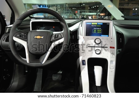 TORONTO-FEBRUARY 17: Chevrolet Volt - cockpit at the 2011 Canadian International Auto Show on February 17, 2011 in Toronto - stock photo