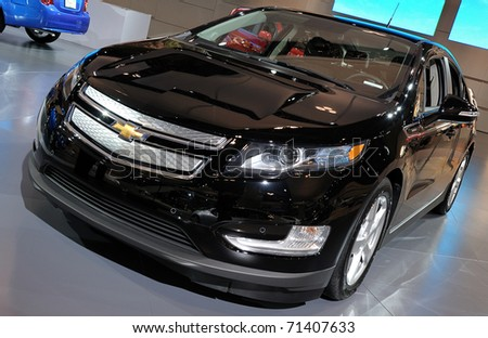 TORONTO-FEBRUARY 17: Chevrolet Volt displayed at the 2011 Canadian International Auto Show on February 17, 2011 in Toronto - stock photo