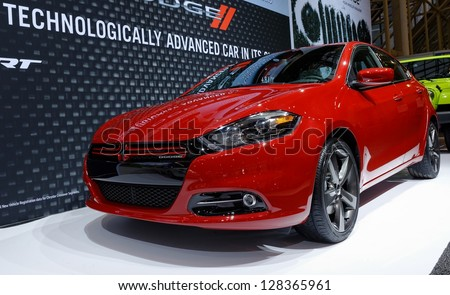TORONTO-FEBRUARY 14: Dodge Dart at the 2013 Canadian International Auto Show on February 14, 2013 in Toronto - stock photo