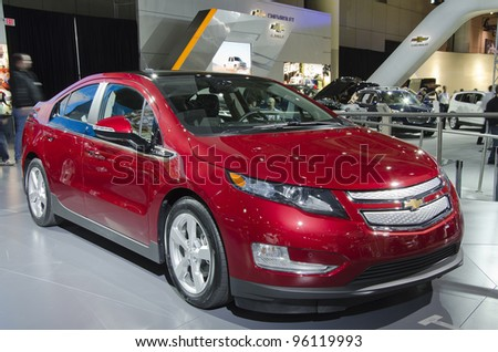 TORONTO-FEBRUARY 25: Exhibition of the Chevrolet Volt during  the Canadian International Auto Show in  the Toronto Convention Centre on February 25, 2012. This time the show arrives to 38 years. - stock photo