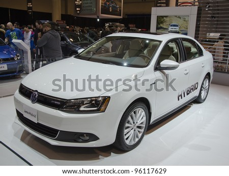 TORONTO-FEBRUARY 25: Exhibition of the VW Jetta Hybrid  during  the Canadian International Auto Show in  the Toronto Convention Centre on February 25, 2012. This time the show arrives to 38 years.